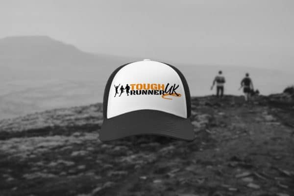 Black and white Tough Runner UK trucker hat